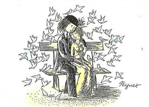 Les amoureux de peynet : couple enlacer
